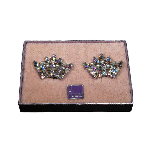 Mid Century Jewelry - B David Mothers Crown Earrings