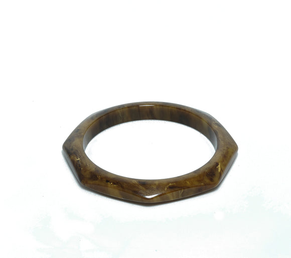 Vintage Bakelite Gaudy Marbled End of Day Mississippi Mud Bracelet - indypicker-com