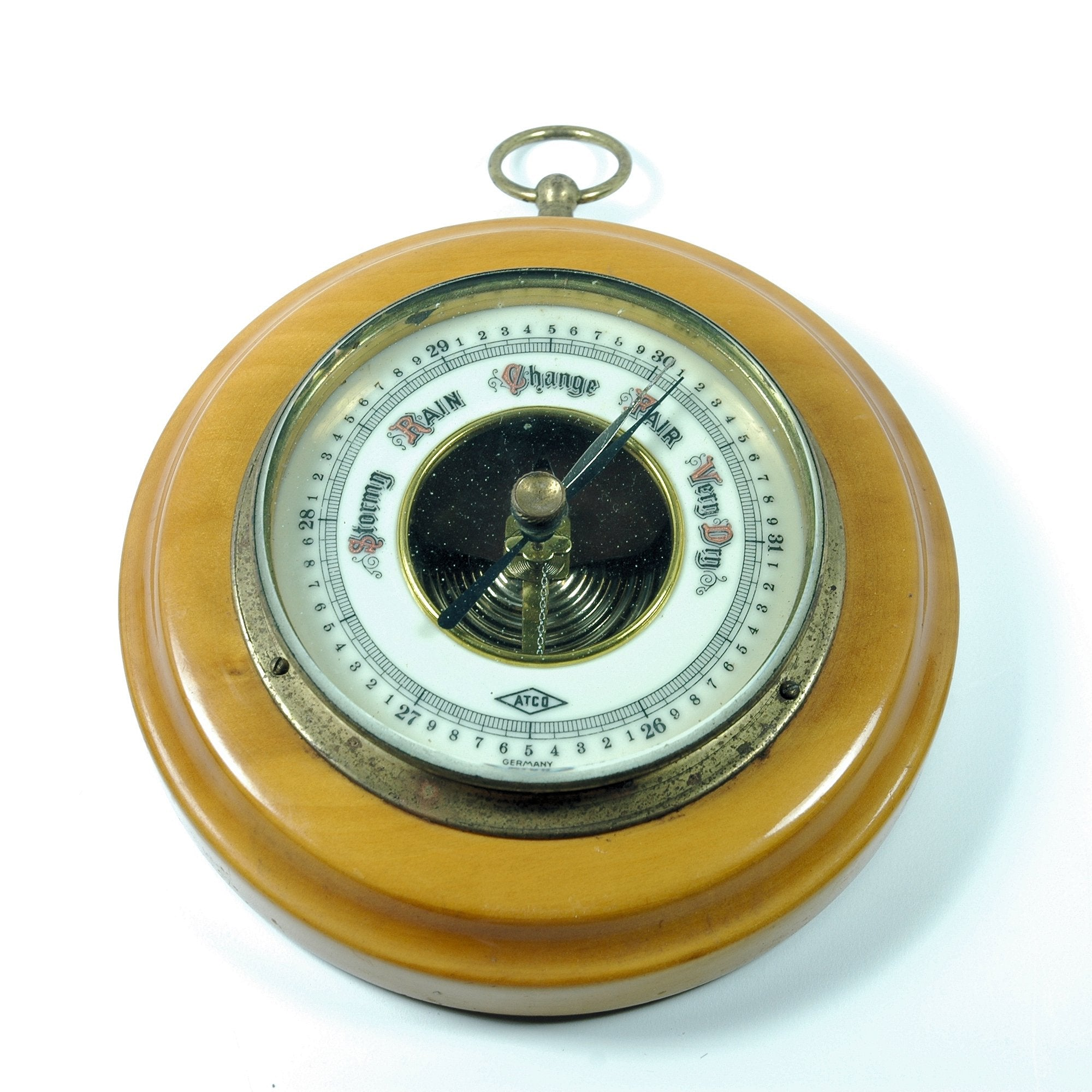 Vintage Barometer ATCO Porcelain Face Aneroid made in Germany (c.1950s)