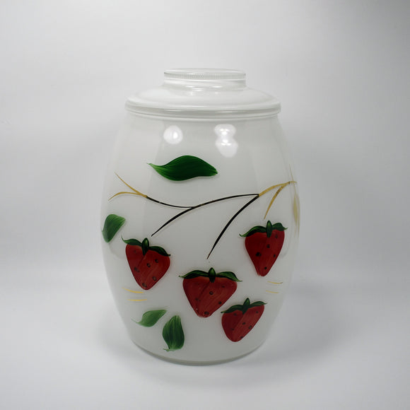 Vintage Bartlett Collins White with Strawberries Cookie Jar (c.1960s) - indypicker-com
