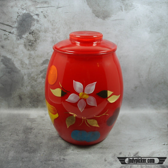 Vintage Cookie Jar Bartlett Collins Red Flower and Fruit Motif - Indypicker.com