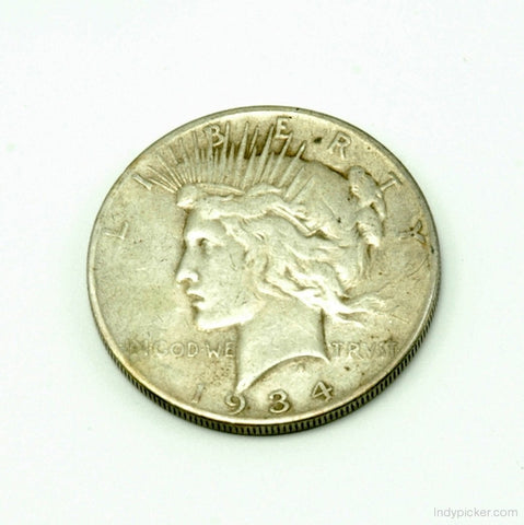 US Coins Silver Dollar 1934 S Peace Key Date Good