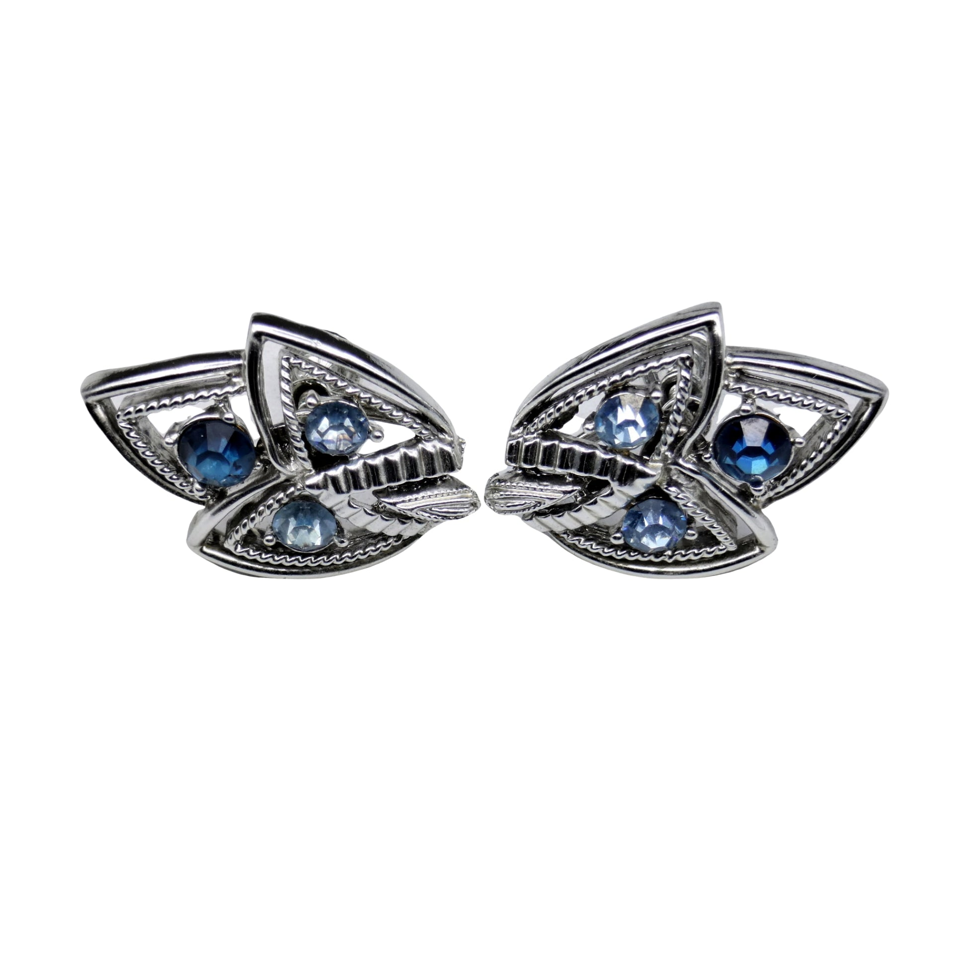 Mid Century Jewelry - Coro Blue Topaz Screw Back Earrings