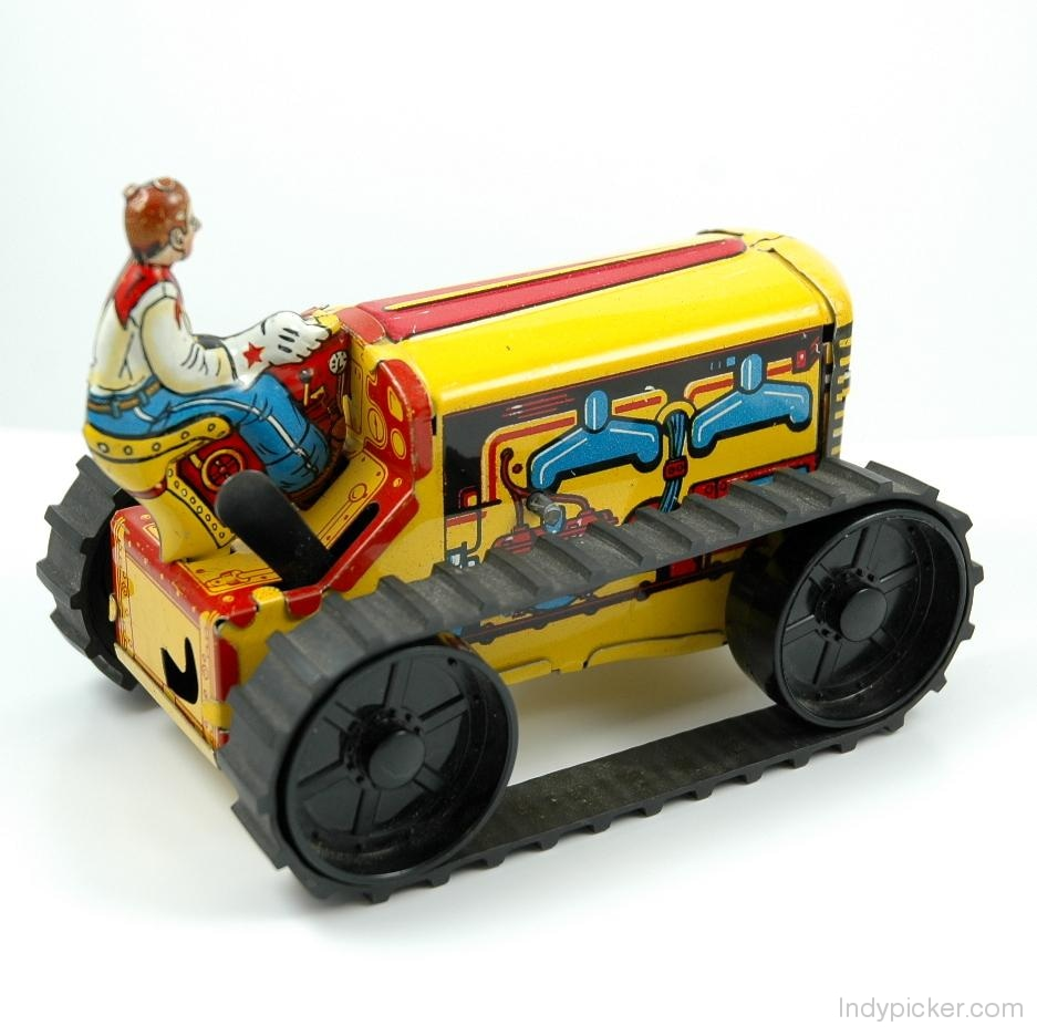 Vintage Marx Wind Up Tractor Tin Toy (c.1960s)