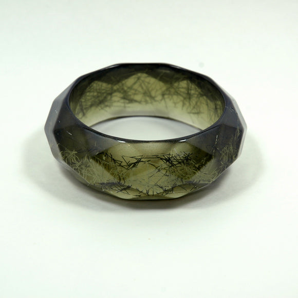 Vintage Jewelry Lucite Bangle Confetti Lime Green - Indypicker.com