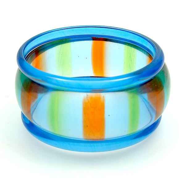 Lucite Bangle Bracelet  Lime and Orange Striped Blue Spacers - Indypicker.com