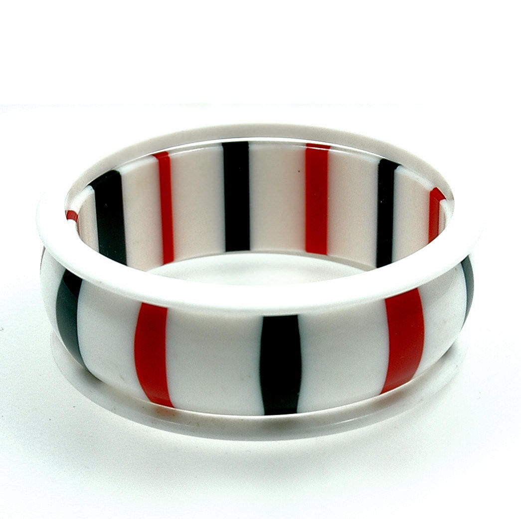 Vintage Lucite Peppermint with Spacers Bracelets