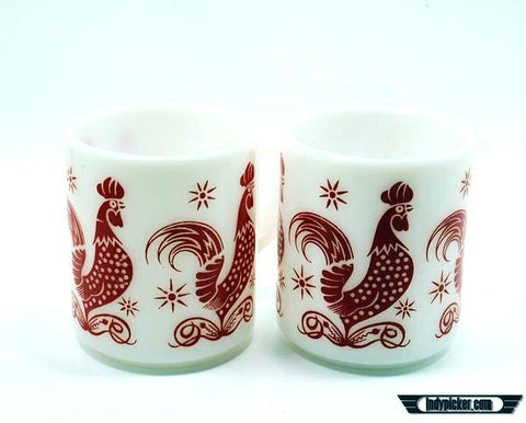 Vintage Coffee Mugs Hazel Atlas Rooster Design