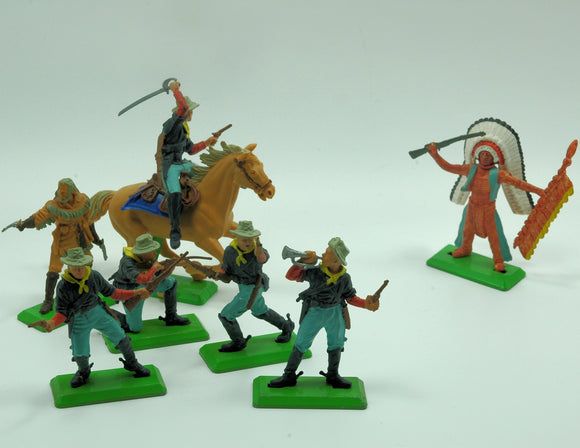 Vintage Action Figures Cowboys and Indians by Deetail (c.1971) - indypicker-com