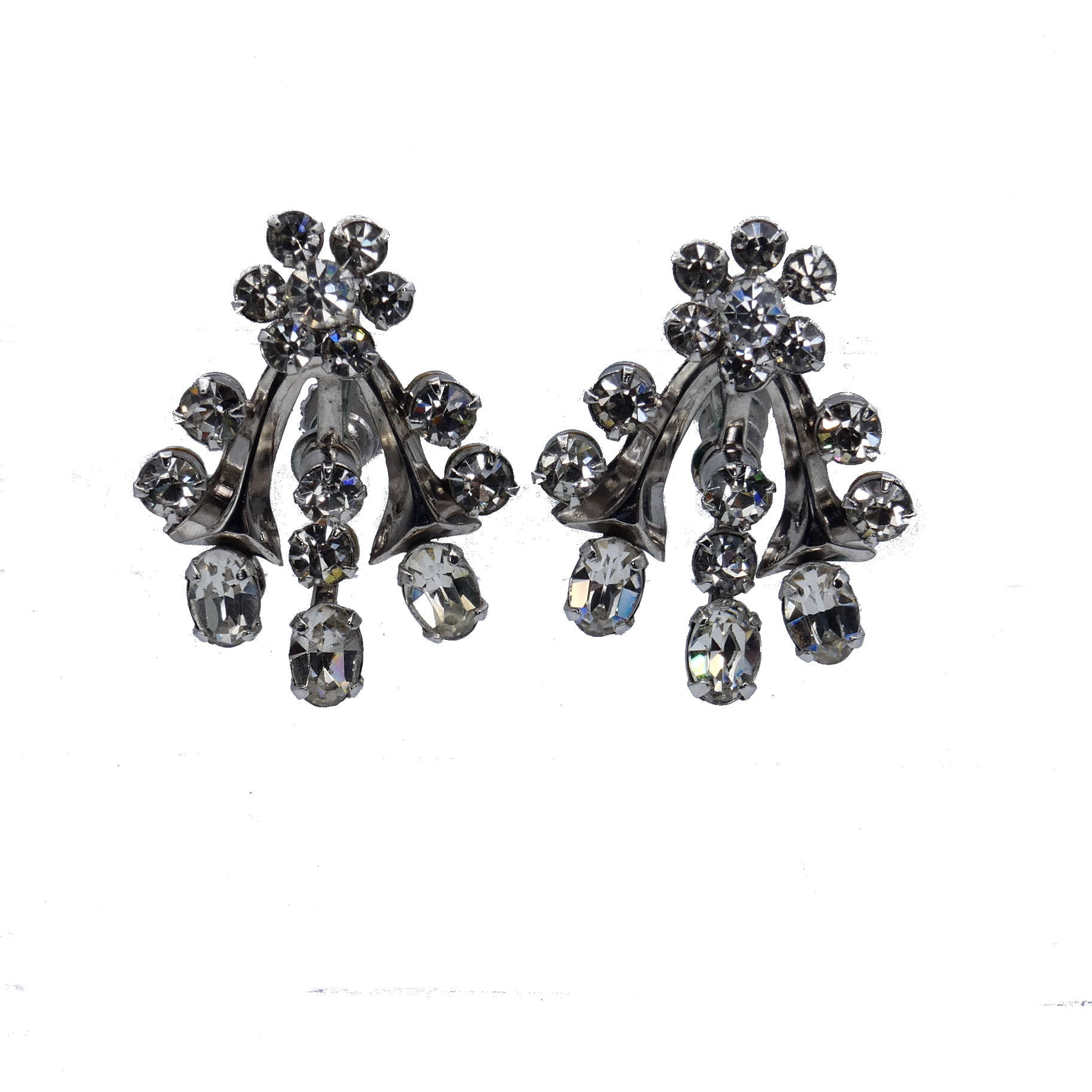 1950s Rhinestone Screw Back Earrings