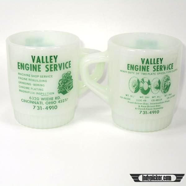 Vintage Fire King Advertising Coffee Mugs Valley Engine Service