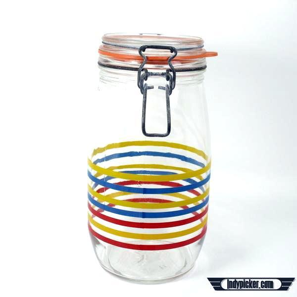 Vintage Arc France Remplissage 1.5L Glass Canister Jar Primary Colors