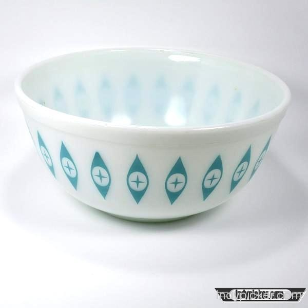 Vintage Pyrex Atomic Eye Bowl Turquoise