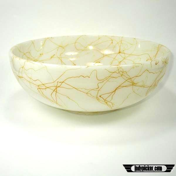 Vintage Hazel Atlas Platonic Frost Glass White Gold Drizzle Bowl