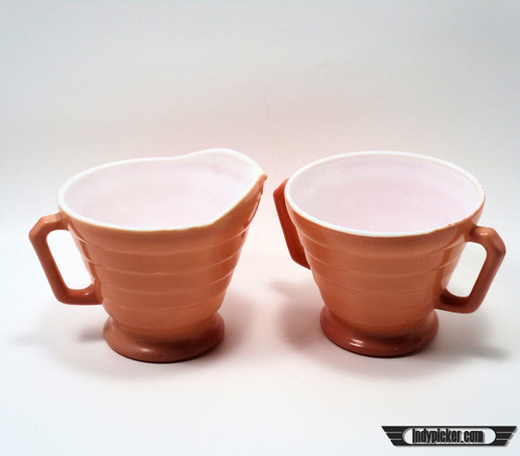 Vintage Hazel Atlas Cream and Sugar Set Pink (c.1950s) - indypicker-com