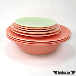 Vintage Hazel Atlas Mixed Lot Saucers Plates Bowl Moderntone Pink Green - Indypicker.com