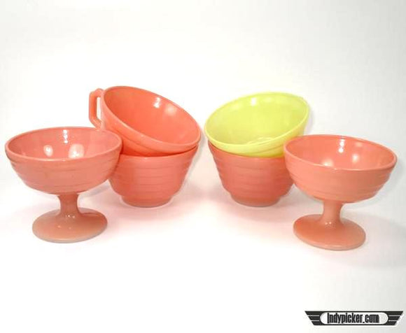 Vintage Hazel Atlas Mixed Lot Coffee and Sherbet Cups Moderntone Pink Yellow - Indypicker.com