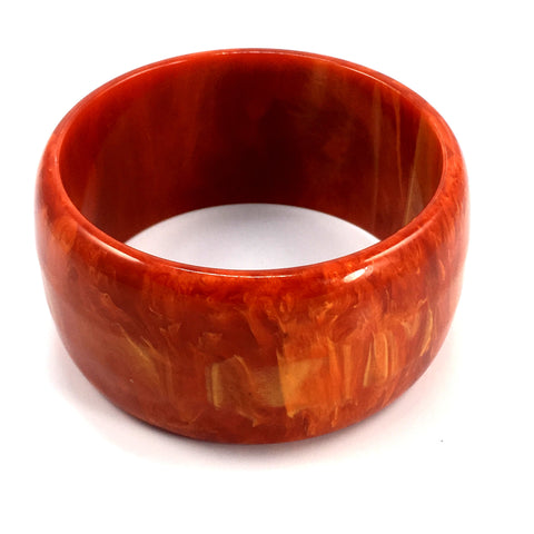 Vintage Bakelite Bangle Wide Bracelet Paprika Marbled