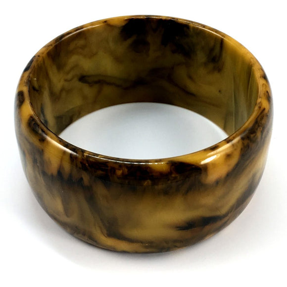 Vintage Bakelite Wide Toffee Mississippi Mud Bangle - indypicker-com