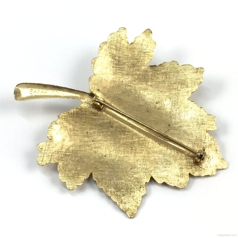 Vintage Sarah Coventry Pin Gold-toned Leaf with Pearl