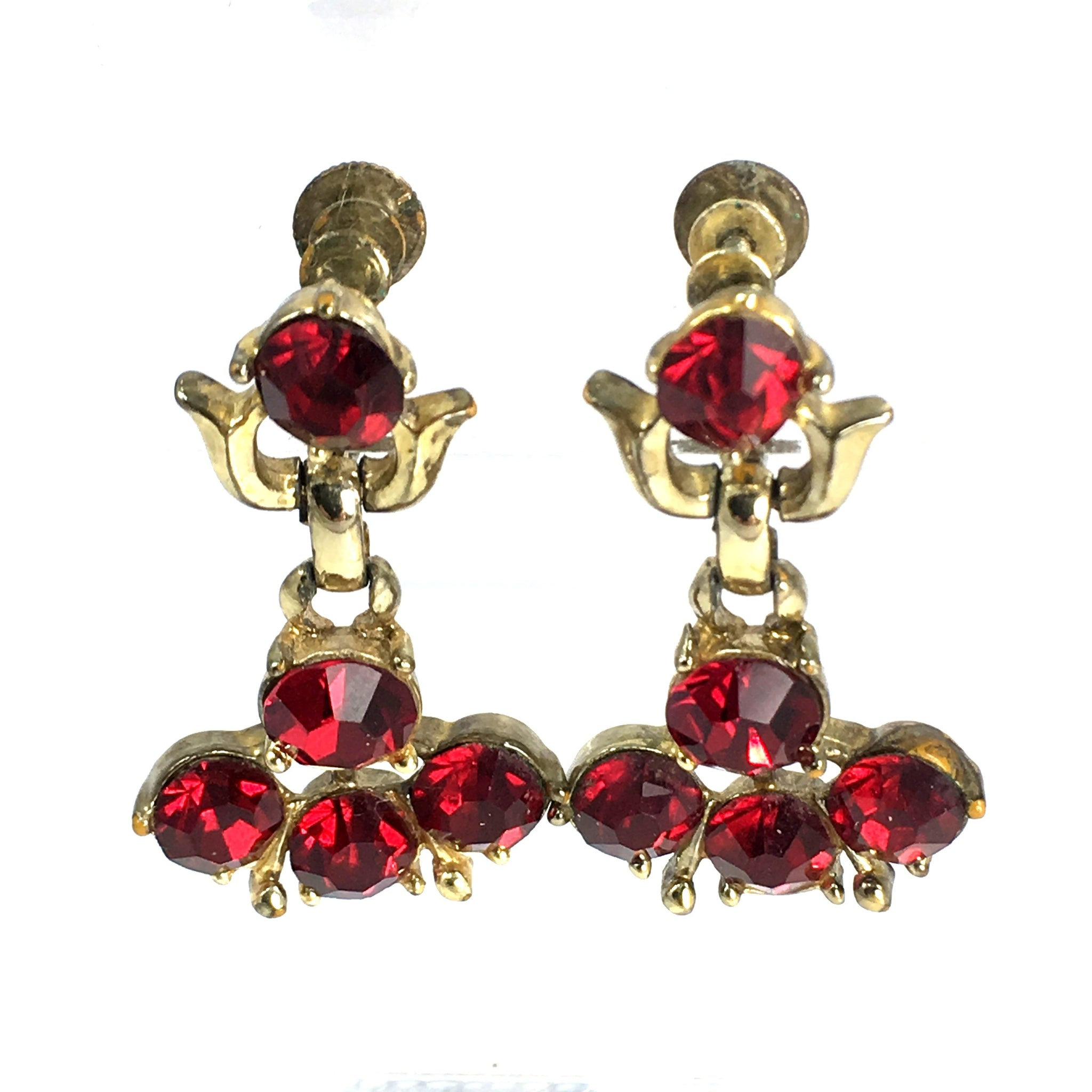 Retro Coro Screw Back Red Dangle Zircon Earrings
