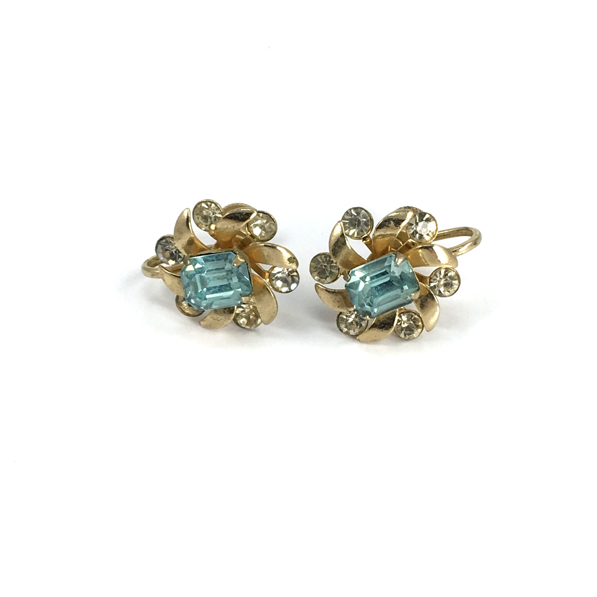 Vintage Gold Coro Earrings Screw Back Ladies Aquamarine Stones (c.1950s)