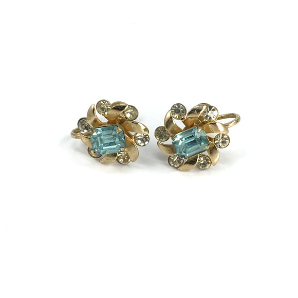 Vintage Gold Coro Earrings Screw Back Ladies Aquamarine Stones - Indypicker.com