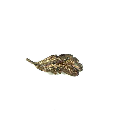 Vintage Leaf Ladies Brooch Costume Jewelry (c.1950s)