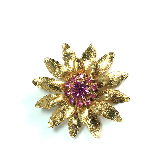 Vintage Jewelry Brooch Gold-toned Flower Pink Glass Stones - Indypicker.com