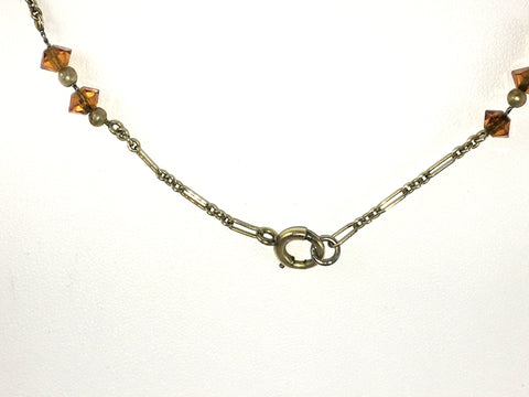 Vintage Art Deco Ladies Amber Glass Necklace (1920s)