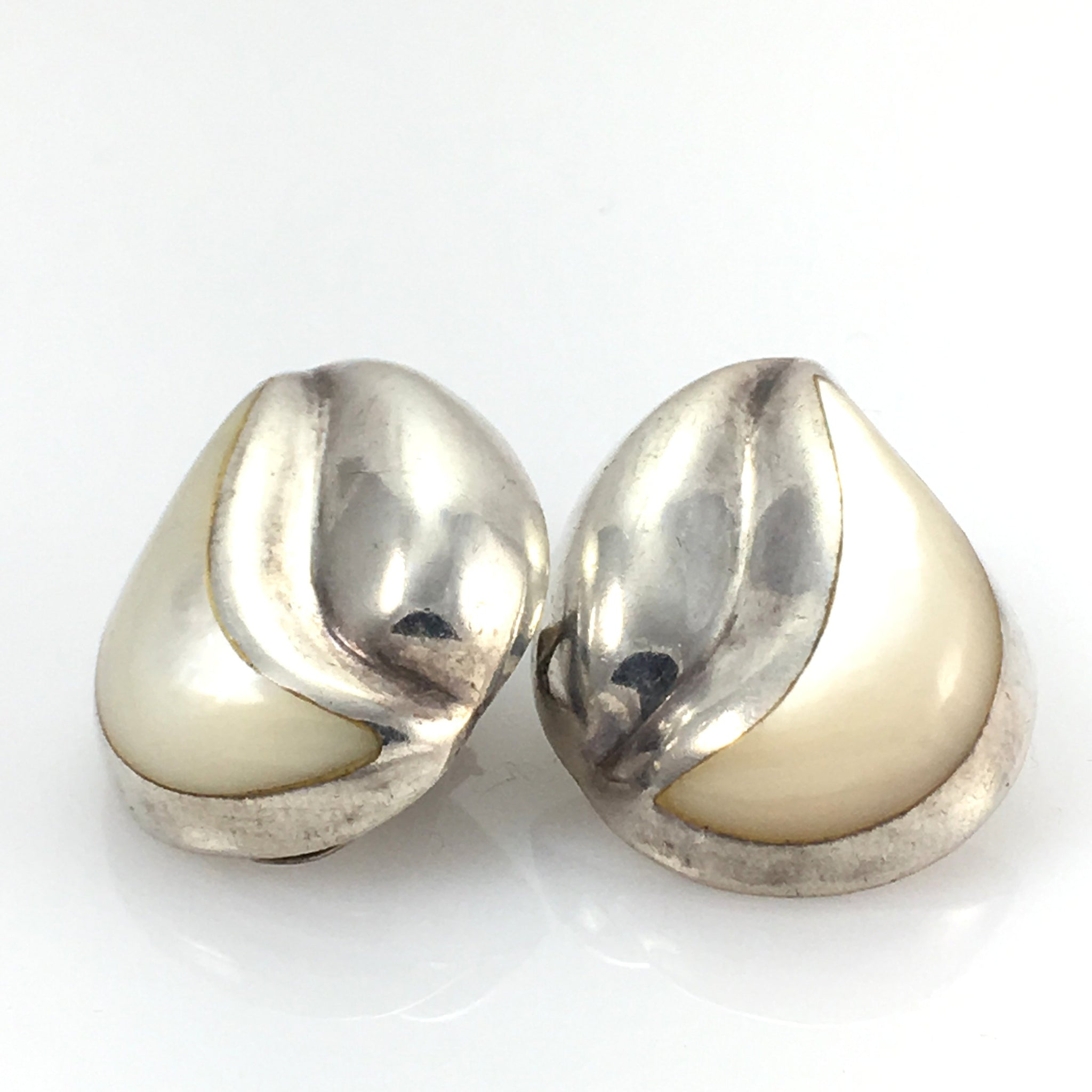 Vintage Sterling Clip on Earrings Mother of Pearl