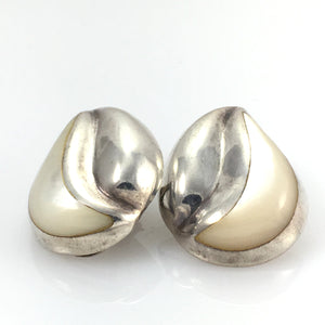 Vintage Sterling Clip-on Earrings Mother of Pearl - indypicker-com
