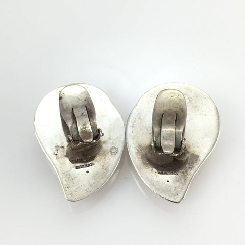 Vintage Sterling Clip-on Earrings Mother of Pearl