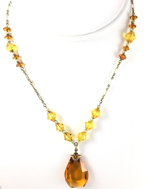 Vintage Art Deco Ladies Amber Glass Necklace - Indypicker.com