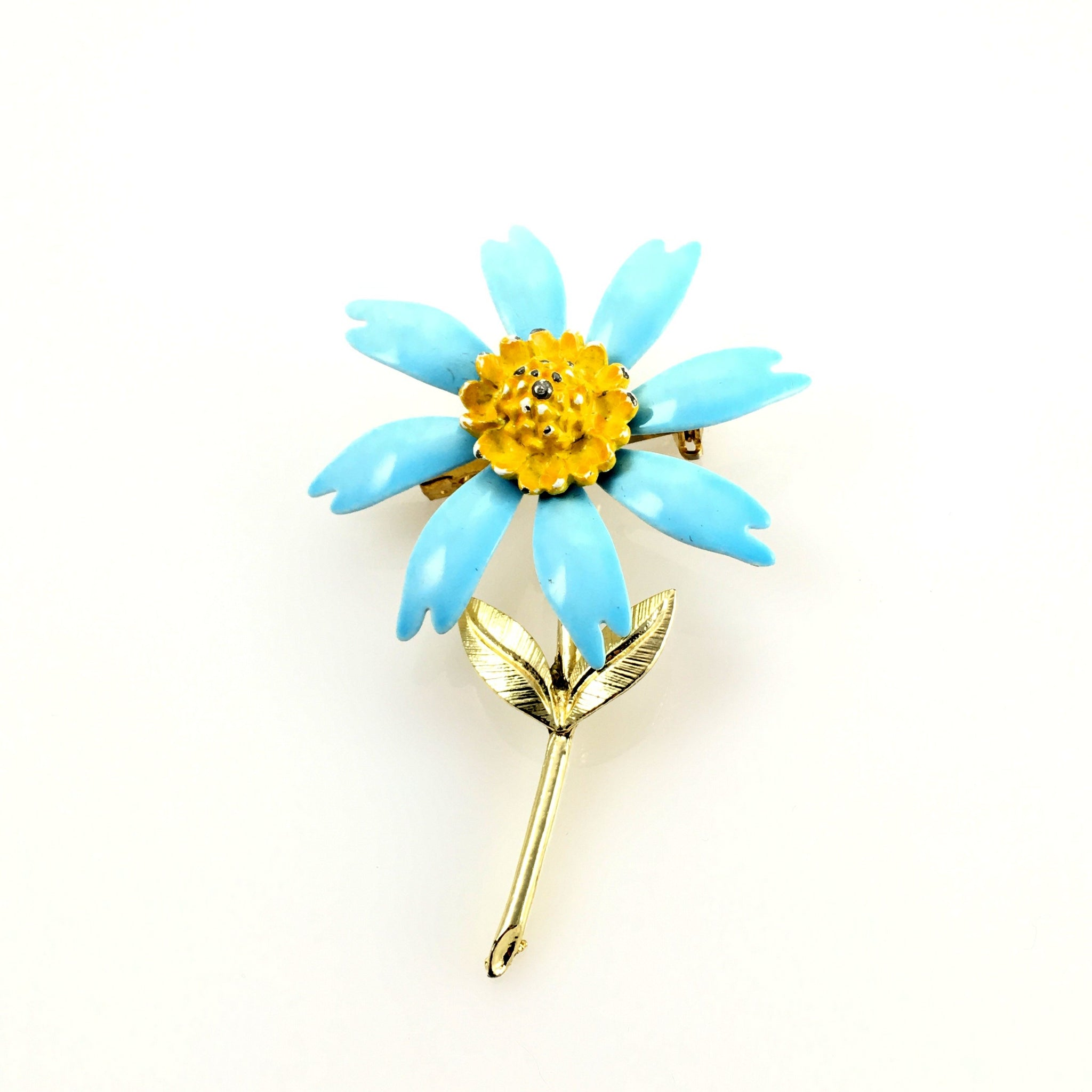 Vintage Modern Ladies Light Blue Flower Brooch Pin
