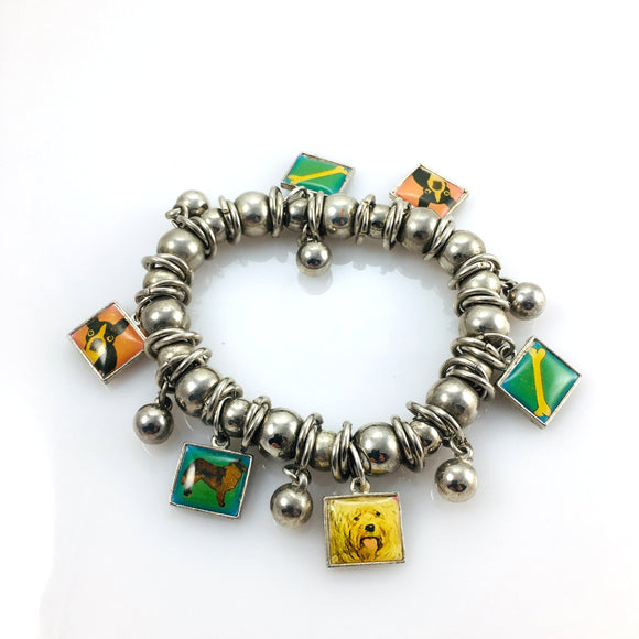Vintage Beaded Dog Charm Bracelet - Indypicker.com