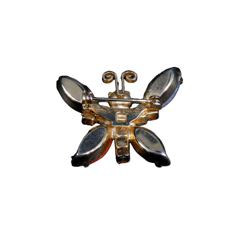 1950s Jewelry Beaded Lucite Rhinestone Butterfly Brooch