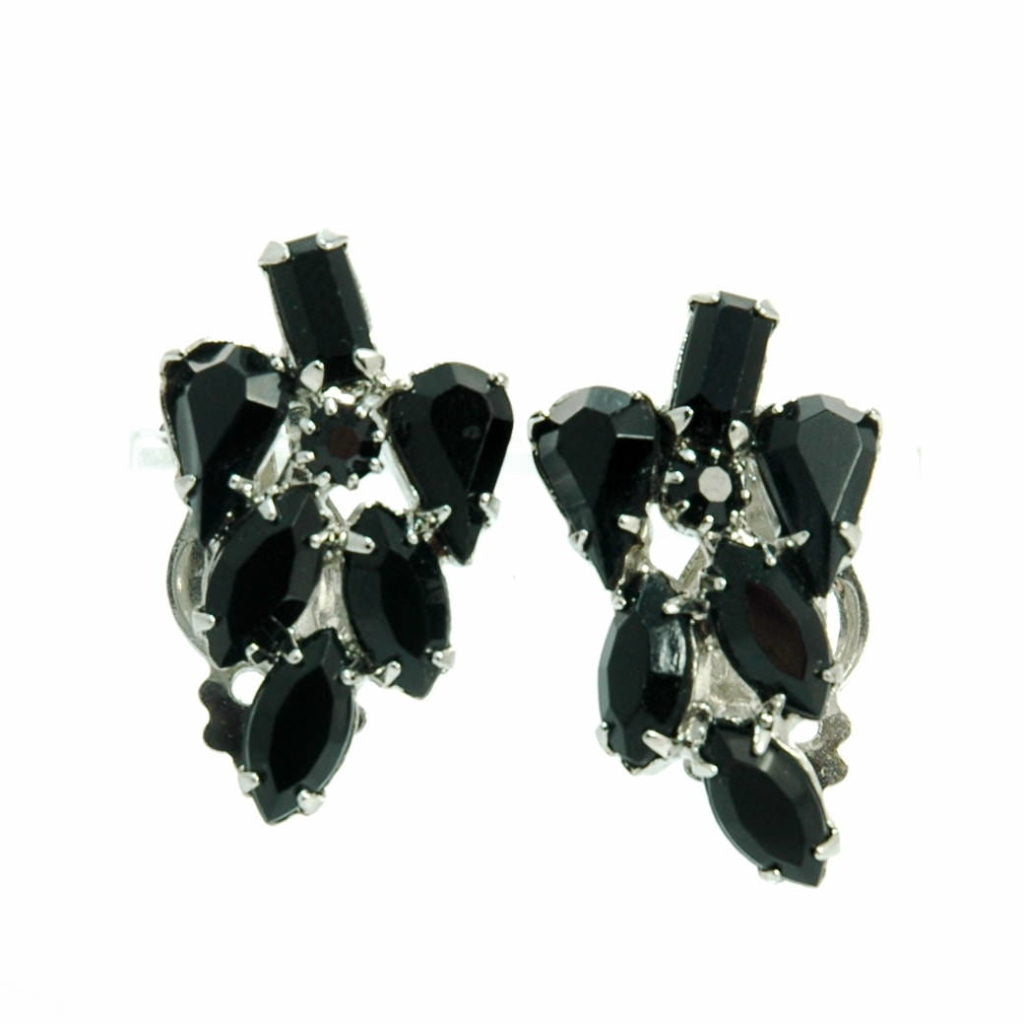 Weiss Mid Century Black Crystal Clip-on Earrings