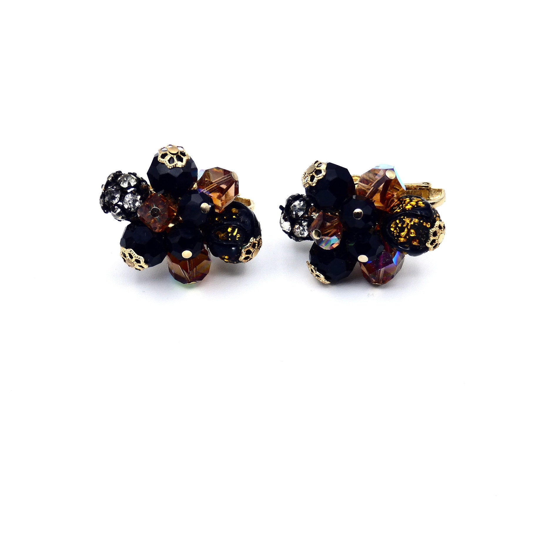 Mid Century Vendome Black Sputnik Period Clip-on Earrings