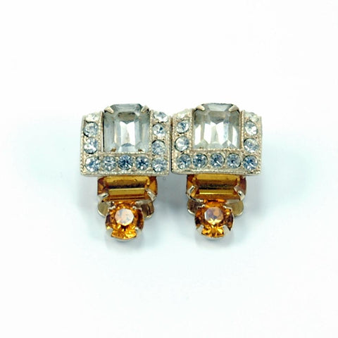 Art Deco Jewelry Eisenberg Amber and White Rhinestone Clip-on Earrings
