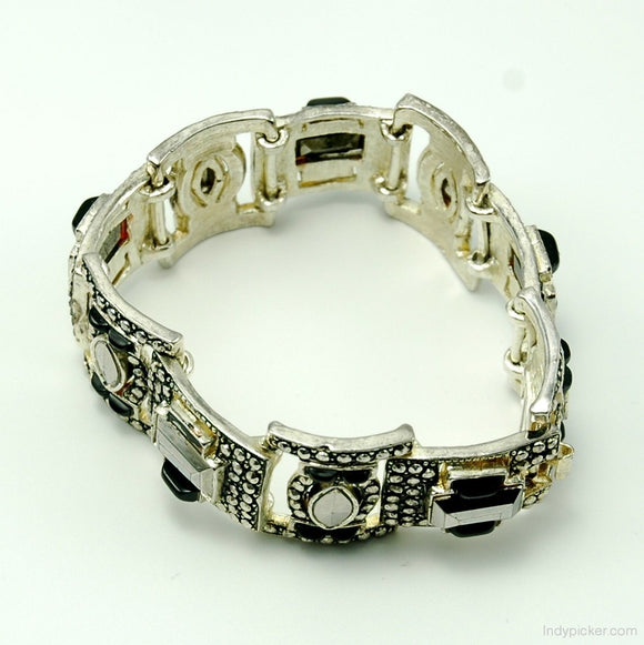 Vintage Jewelry Bracelet Marcasites and Faux Cushion Stones - Indypicker.com