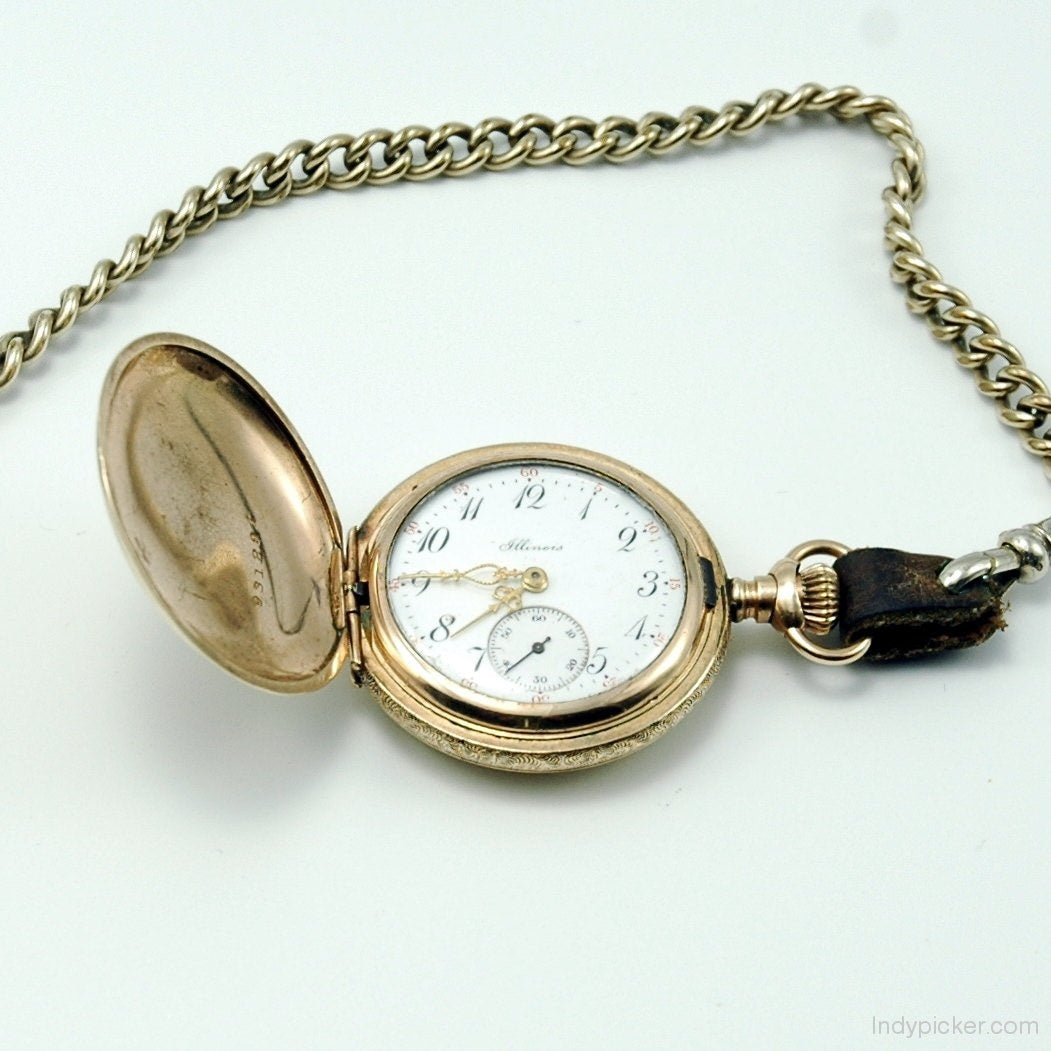 Vintage 1913 Illinois Pocket Watch Model 2 Gold Filled