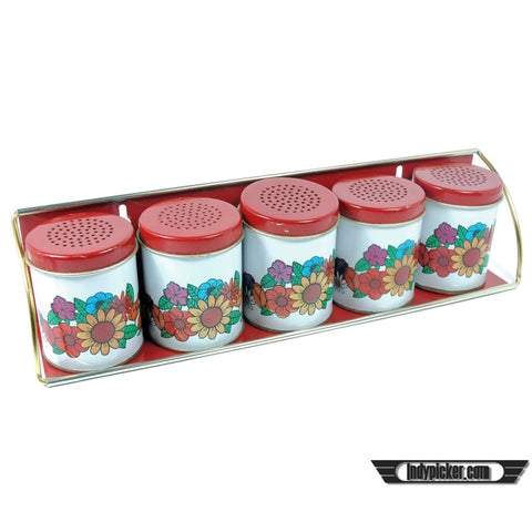 Vintage Spice Rack Red Top with Flowers Wallmount