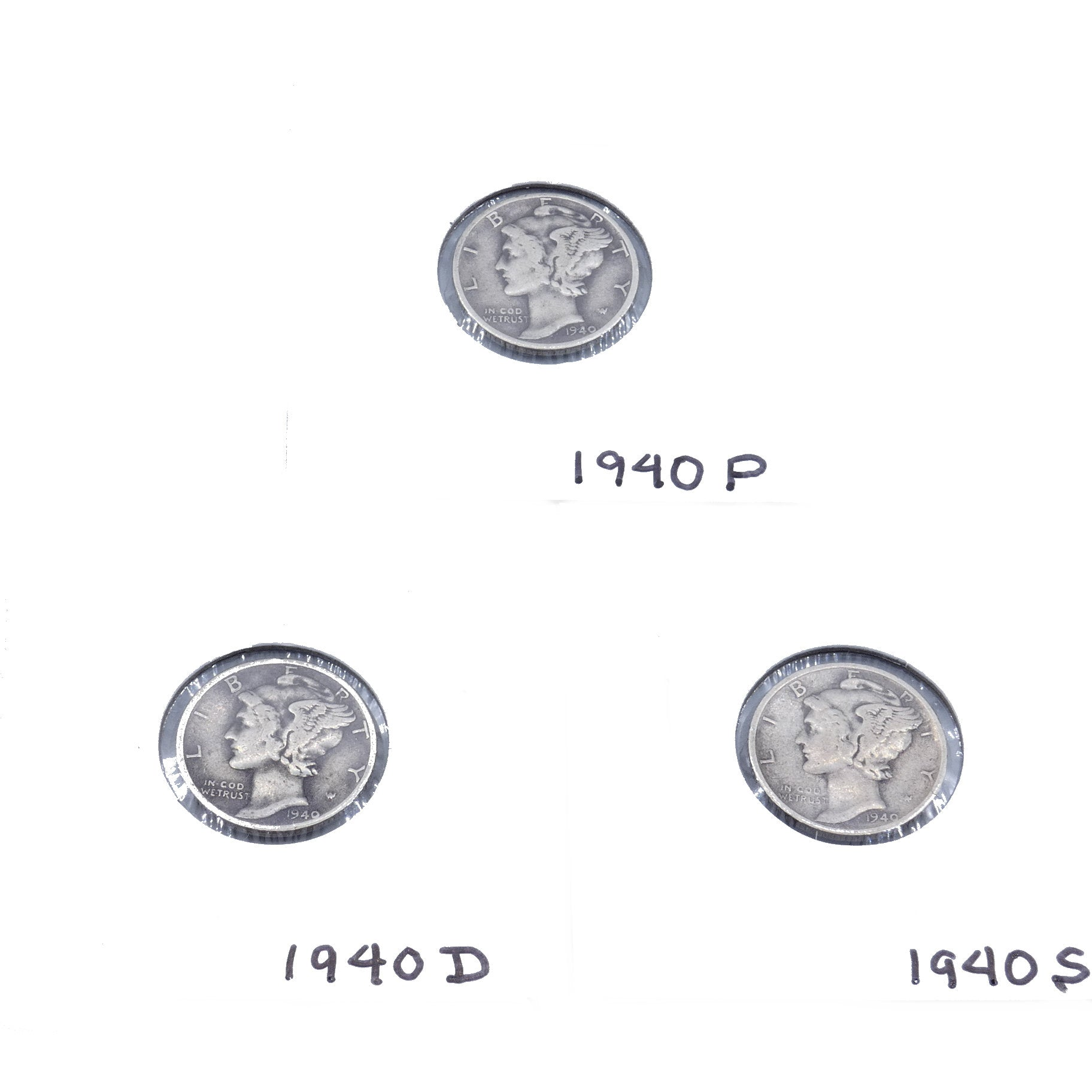 Vintage 1940 Mercury Dime Set