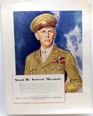 World War II Poster General George Marshall USA