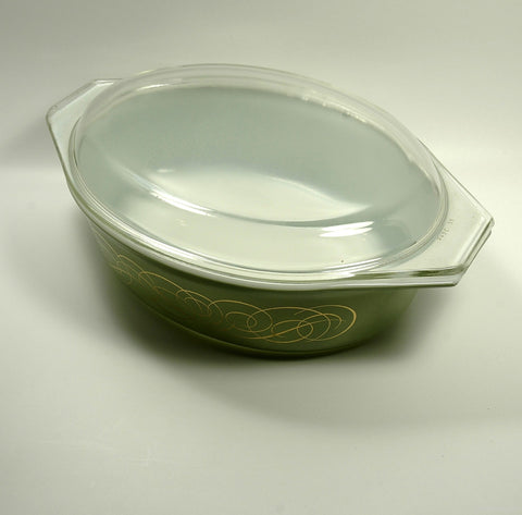 Vintage Pyrex Promotional Casserole Dish Green Scrolled