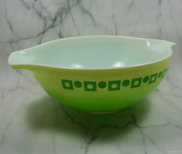 Vintage Pyrex Promotional Salad Bowl Green Polka Dot - indypicker-com