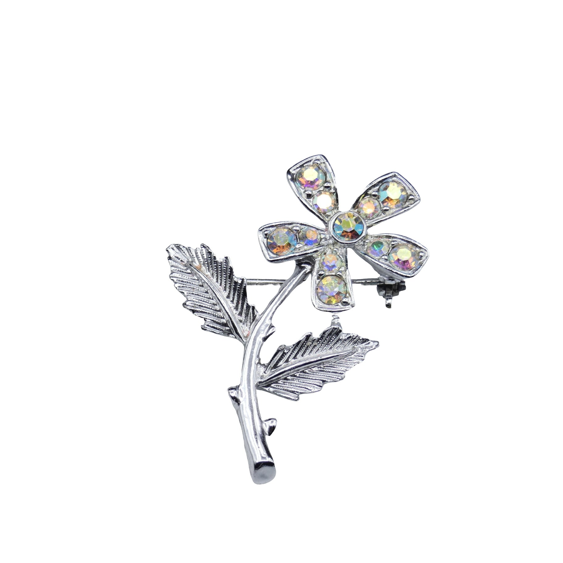 Modern Period Jewelry - Sarah Coventry Flower Rhinestone Brooch