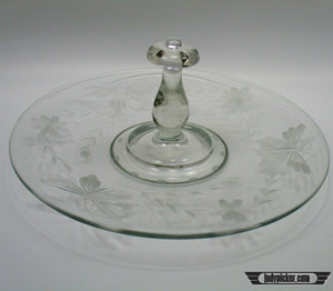 Vintage Etch Glass Hors d'oeuvre Tray - Indypicker.com