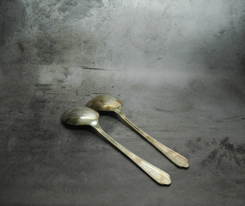 Oneida Silver Plate Round Soup Spoons 1 Pair (c.1930s)